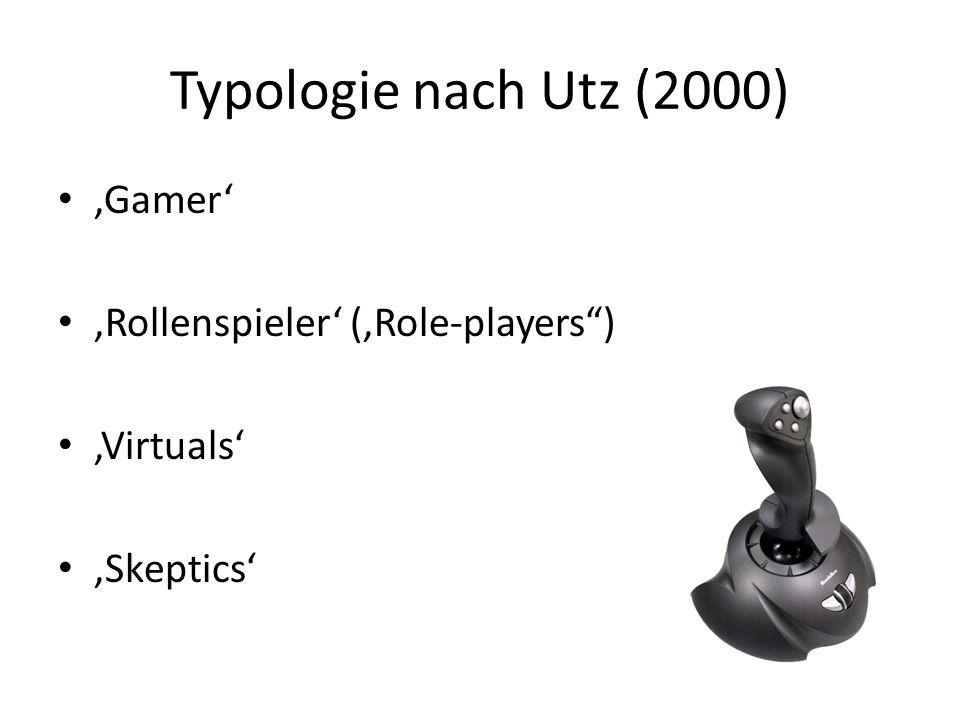 Typologie nach Utz (2000) Gamer Rollenspieler (Role-players) Virtuals Skeptics
