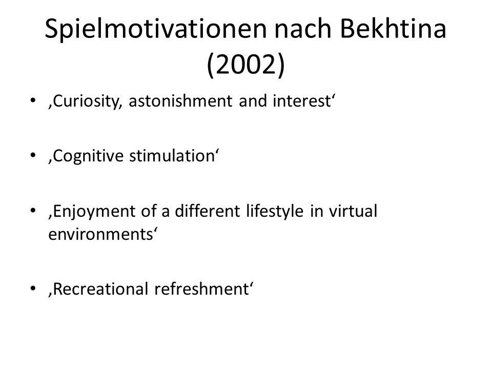 Spielmotivationen nach Bekhtina (2002) Curiosity, astonishment and interest Cognitive stimulation Enjoyment of a different lifestyle in virtual enviro