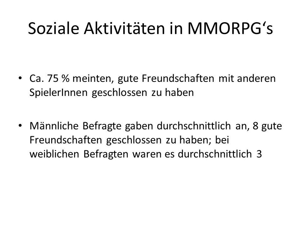 Soziale Aktivitäten in MMORPGs Ca. 75 % meinten, gute Freundschaften mit anderen SpielerInnen geschlossen zu haben Männliche Befragte gaben durchschni