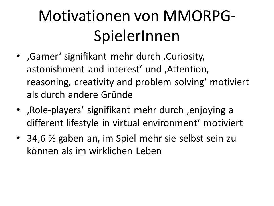 Motivationen von MMORPG- SpielerInnen Gamer signifikant mehr durch Curiosity, astonishment and interest und Attention, reasoning, creativity and probl