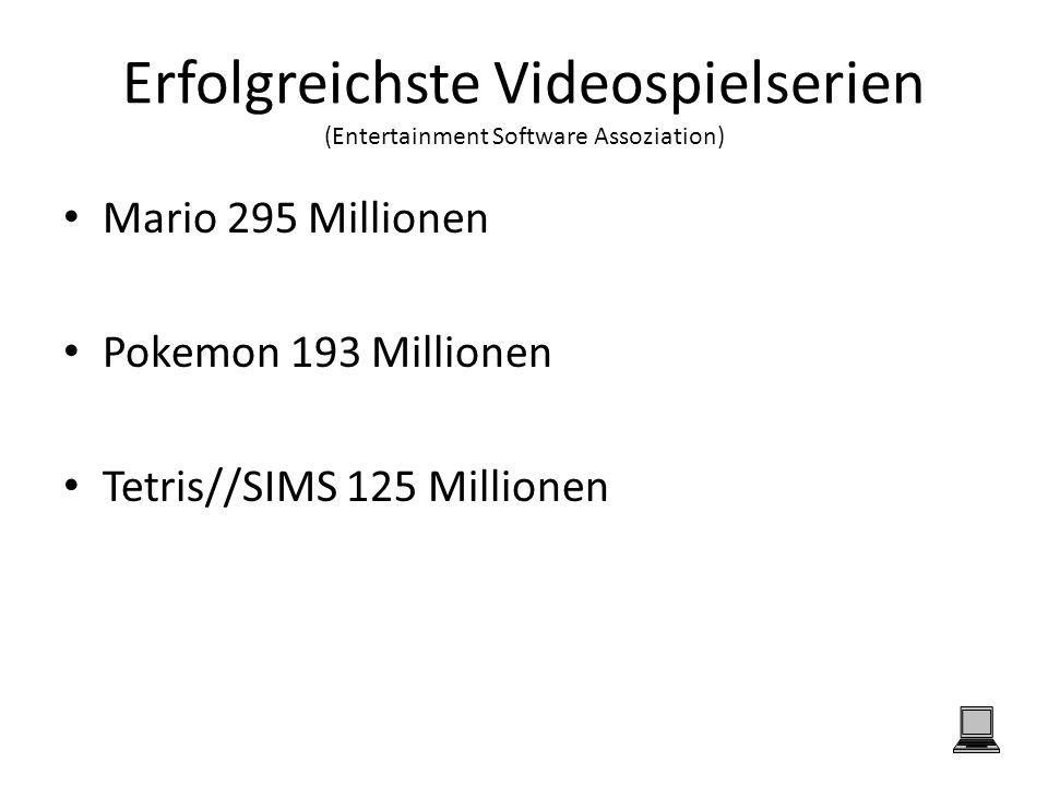 Erfolgreichste Videospielserien (Entertainment Software Assoziation) Mario 295 Millionen Pokemon 193 Millionen Tetris//SIMS 125 Millionen