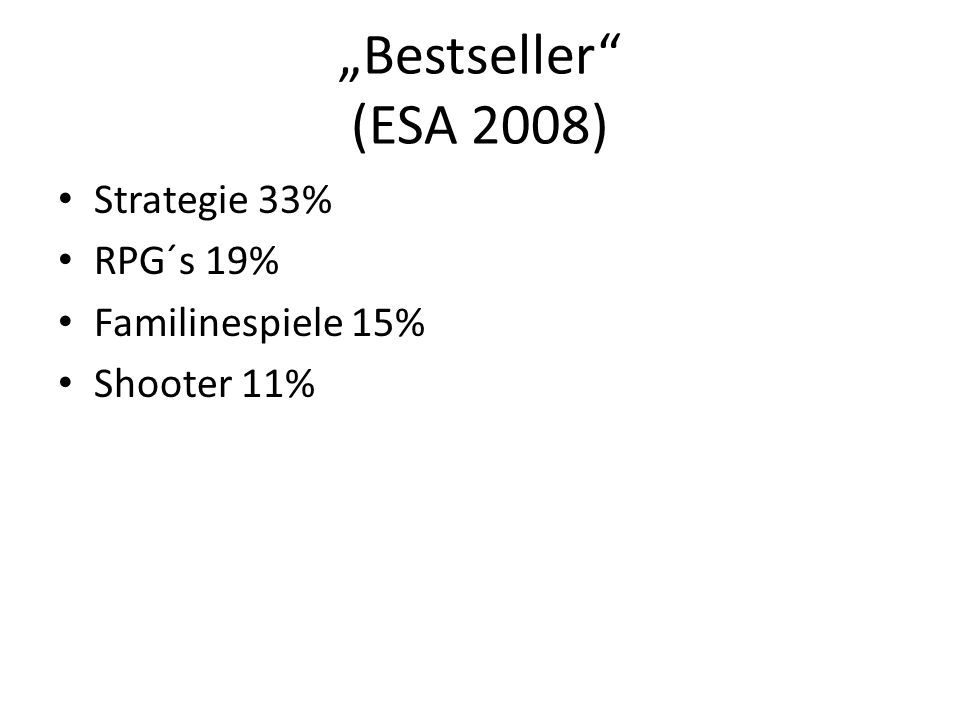 Bestseller (ESA 2008) Strategie 33% RPG´s 19% Familinespiele 15% Shooter 11%