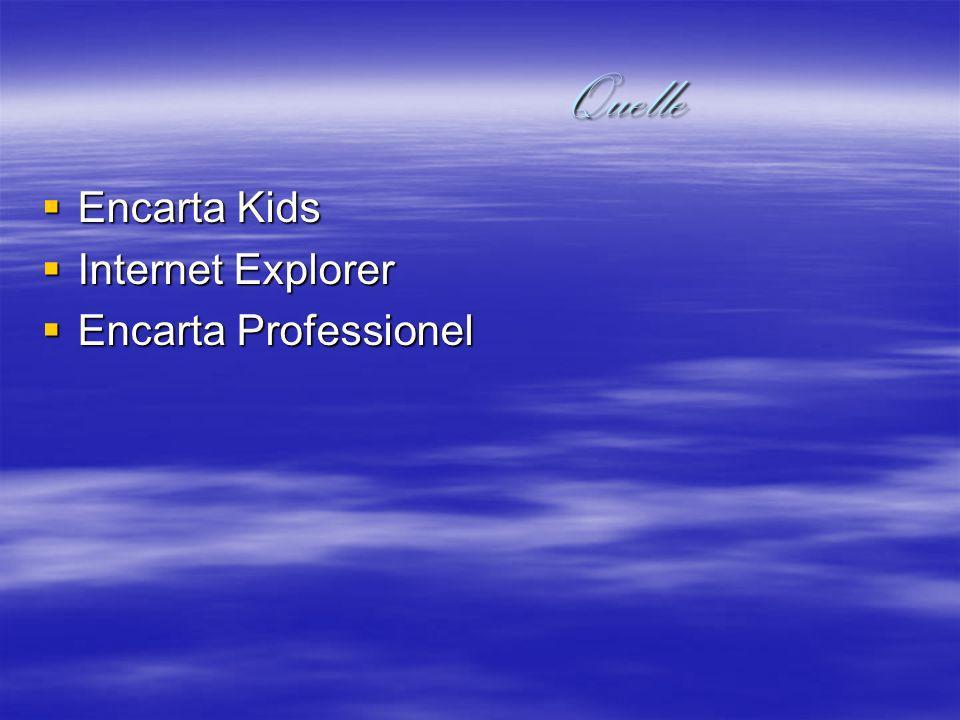 Quelle Quelle Encarta Kids Encarta Kids Internet Explorer Internet Explorer Encarta Professionel Encarta Professionel