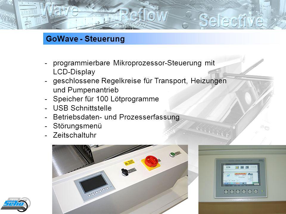 10 GoWave - Steuerung - programmierbare Mikroprozessor-Steuerung mit LCD-Display - geschlossene Regelkreise für Transport, Heizungen und Pumpenantrieb