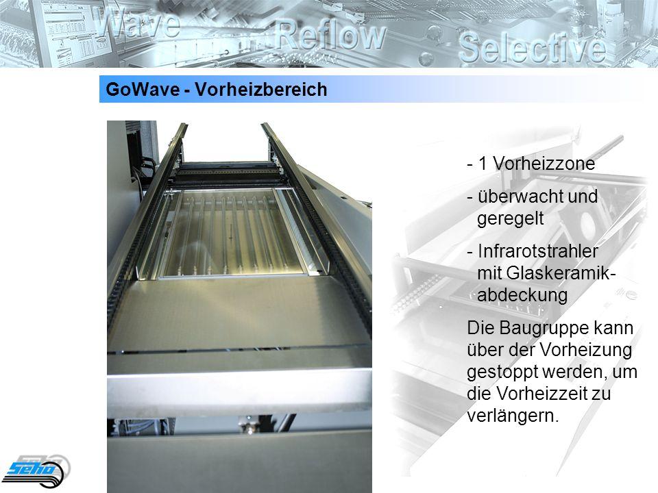 6 GoWave - Vorheizbereich - 1 Vorheizzone - überwacht und geregelt - Infrarotstrahler mit Glaskeramik- abdeckung Die Baugruppe kann über der Vorheizun