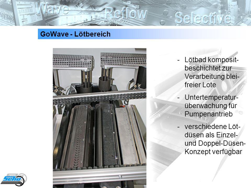 8 GoWave - Lötbereich - Lötbad komposit- beschichtet zur Verarbeitung blei- freier Lote - Untertemperatur- überwachung für Pumpenantrieb - verschieden