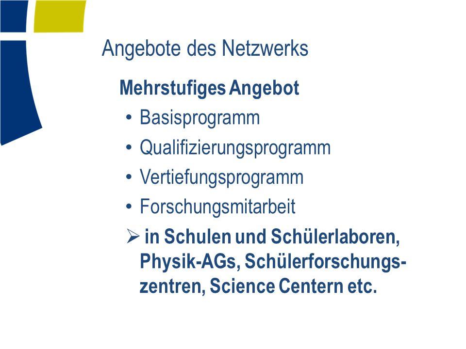 Angebote des Netzwerks Mehrstufiges Angebot Basisprogramm Qualifizierungsprogramm Vertiefungsprogramm Forschungsmitarbeit in Schulen und Schülerlaboren, Physik-AGs, Schülerforschungs- zentren, Science Centern etc.