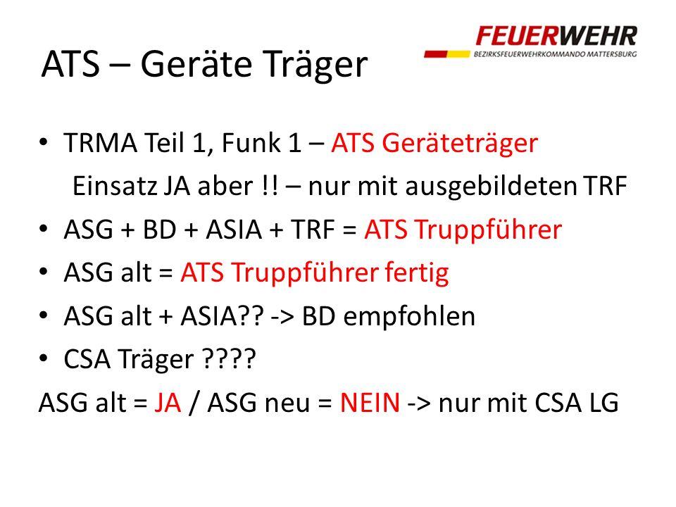 ATS – Geräte Träger TRMA Teil 1, Funk 1 – ATS Geräteträger Einsatz JA aber !! – nur mit ausgebildeten TRF ASG + BD + ASIA + TRF = ATS Truppführer ASG