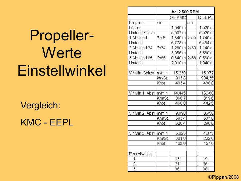 Vergleich: KMC - EEPL Propeller- Werte Einstellwinkel ©Pippan/2008