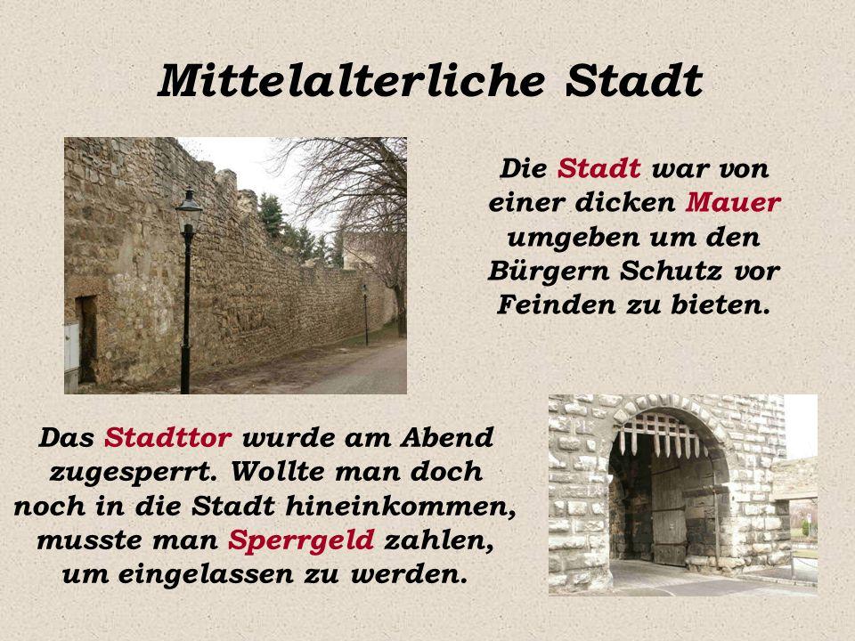 Mittelalterliche Stadt Die Stadt war von einer dicken Mauer umgeben um den Bürgern Schutz vor Feinden zu bieten. Das Stadttor wurde am Abend zugesperr