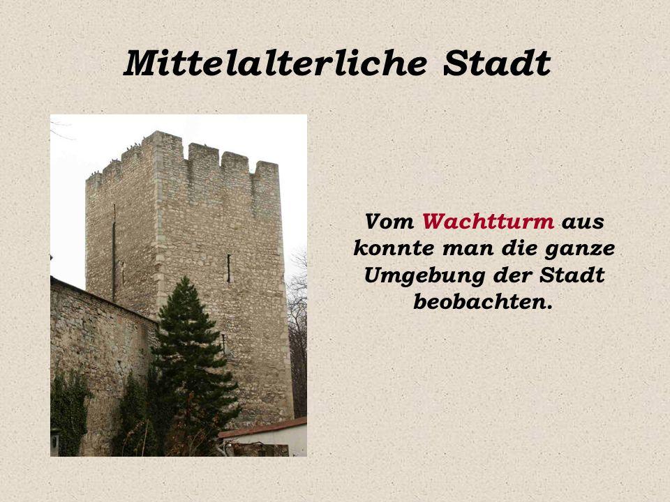 Mittelalterliche Stadt Vom Wachtturm aus konnte man die ganze Umgebung der Stadt beobachten.