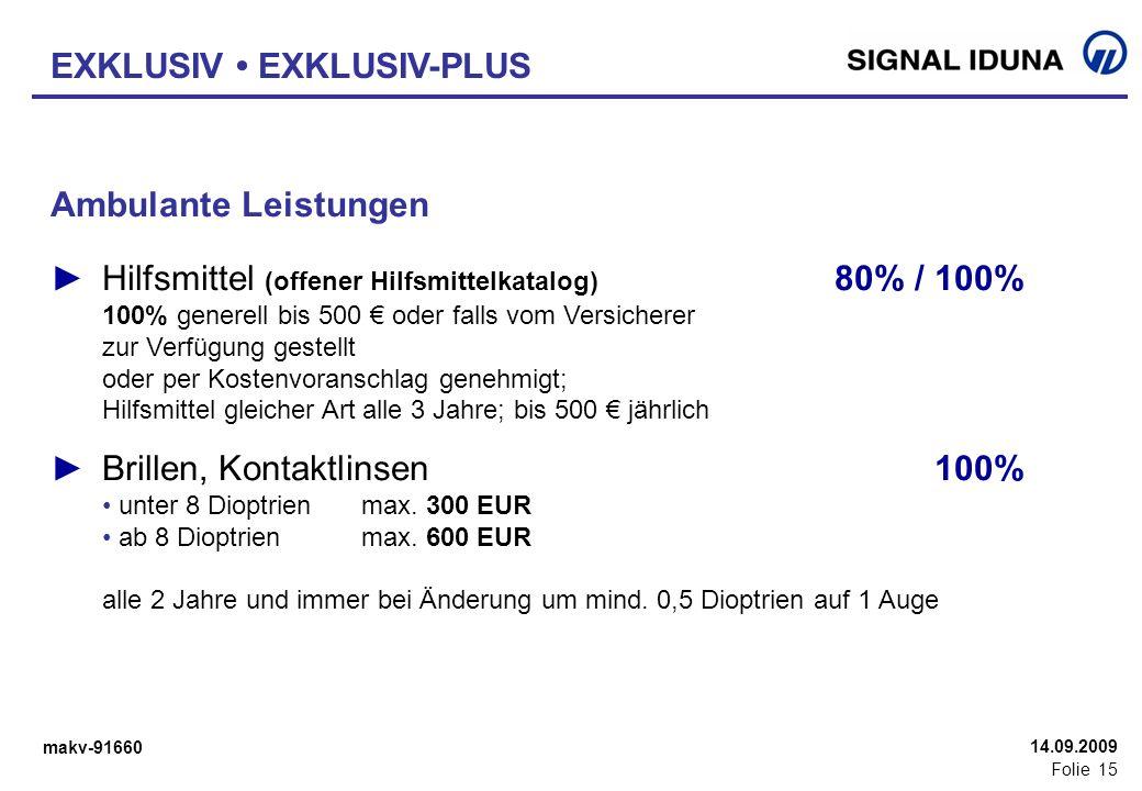 makv-91660 Folie 15 14.09.2009 Ambulante Leistungen Hilfsmittel (offener Hilfsmittelkatalog) 80% / 100% 100% generell bis 500 oder falls vom Versicher