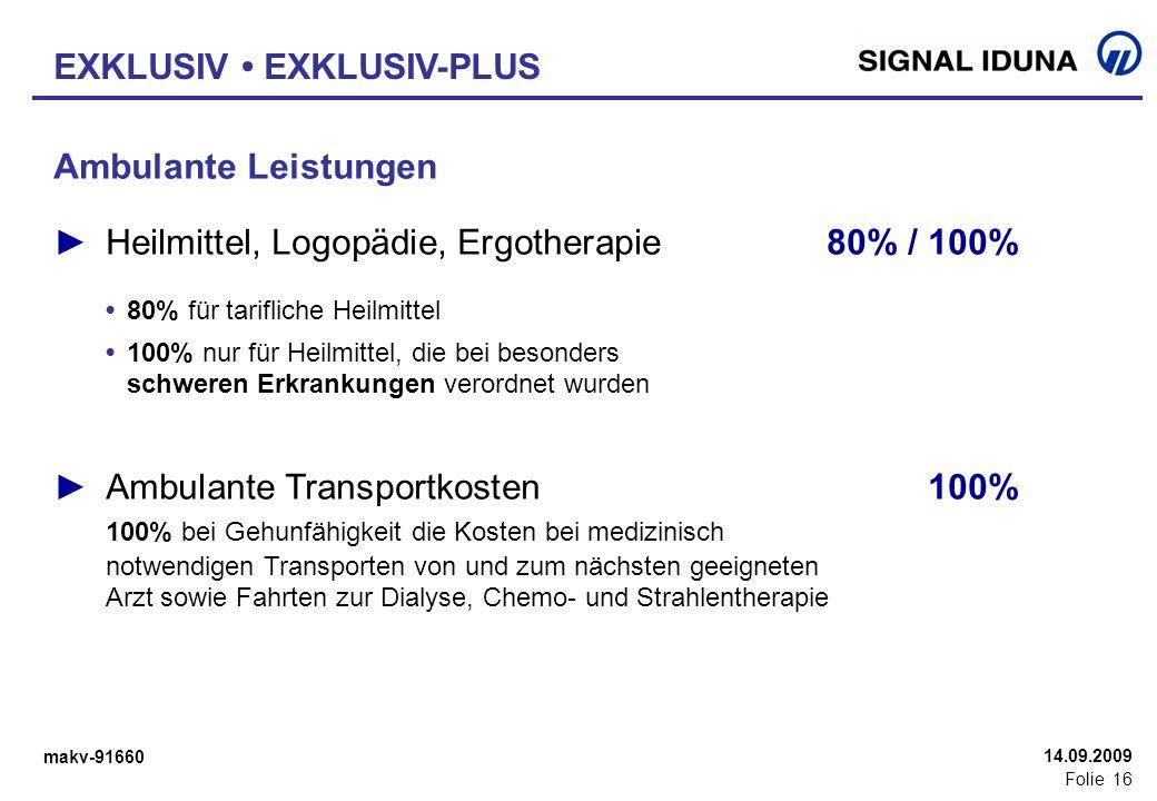 makv-91660 Folie 16 14.09.2009 Ambulante Leistungen Heilmittel, Logopädie, Ergotherapie80% / 100% 80% für tarifliche Heilmittel 100% nur für Heilmitte