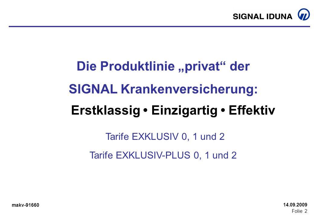 makv-91660 Folie 2 14.09.2009 Die Produktlinie privat der SIGNAL Krankenversicherung: Tarife EXKLUSIV 0, 1 und 2 Tarife EXKLUSIV-PLUS 0, 1 und 2 Erstk