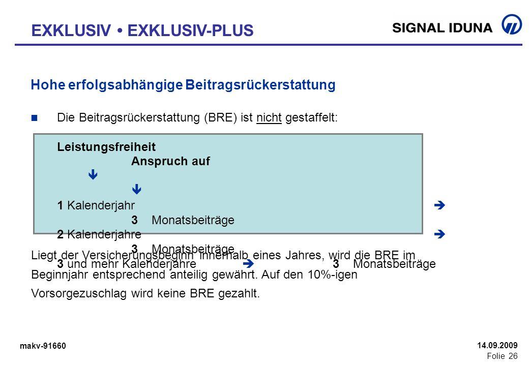 makv-91660 Folie 26 14.09.2009 Hohe erfolgsabhängige Beitragsrückerstattung Die Beitragsrückerstattung (BRE) ist nicht gestaffelt: Leistungsfreiheit A