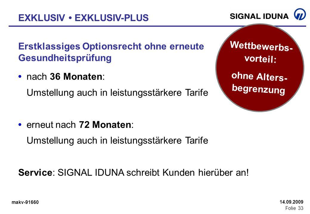 makv-91660 Folie 33 14.09.2009 Erstklassiges Optionsrecht ohne erneute Gesundheitsprüfung nach 36 Monaten: Umstellung auch in leistungsstärkere Tarife