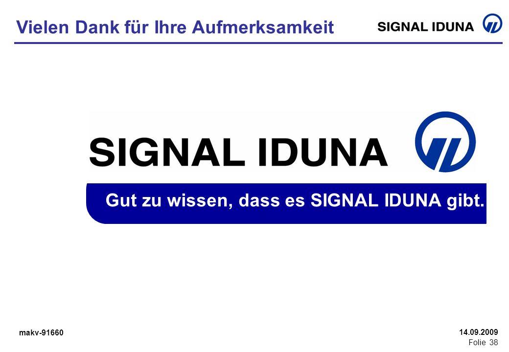 makv-91660 Folie 38 14.09.2009 Gut zu wissen, dass es SIGNAL IDUNA gibt. Vielen Dank für Ihre Aufmerksamkeit