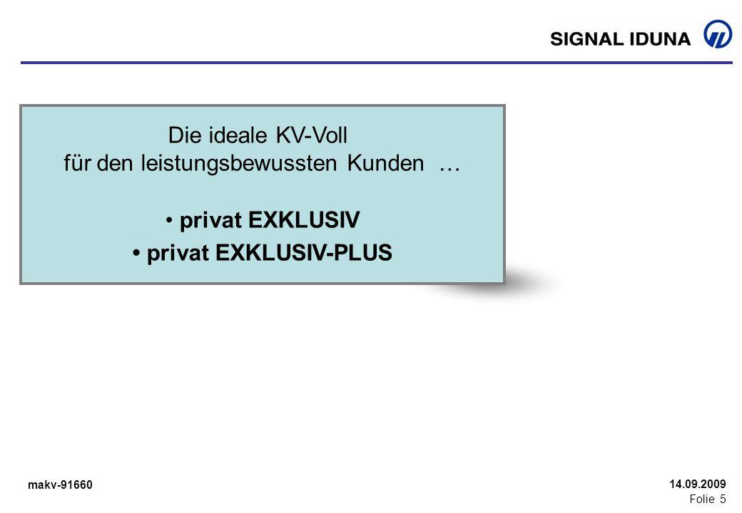 makv-91660 Folie 5 14.09.2009 Die ideale KV-Voll für den leistungsbewussten Kunden … privat EXKLUSIV privat EXKLUSIV-PLUS