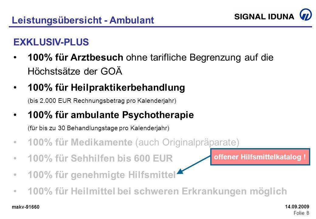 makv-91660 Folie 8 14.09.2009 Leistungsübersicht - Ambulant EXKLUSIV-PLUS 100% für Arztbesuch ohne tarifliche Begrenzung auf die Höchstsätze der GOÄ 1
