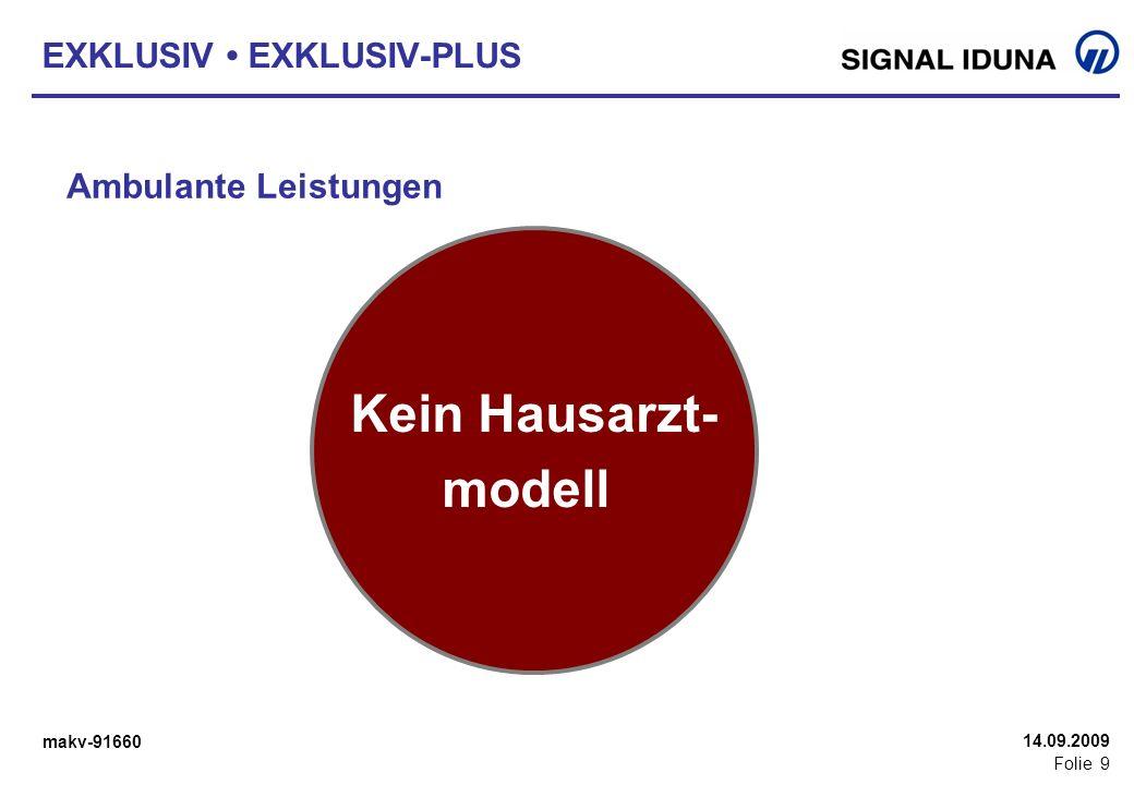 makv-91660 Folie 9 14.09.2009 EXKLUSIV EXKLUSIV-PLUS Ambulante Leistungen Falls Generika nicht vorhanden oder Unverträglichkeit ärztlich bescheinigt,