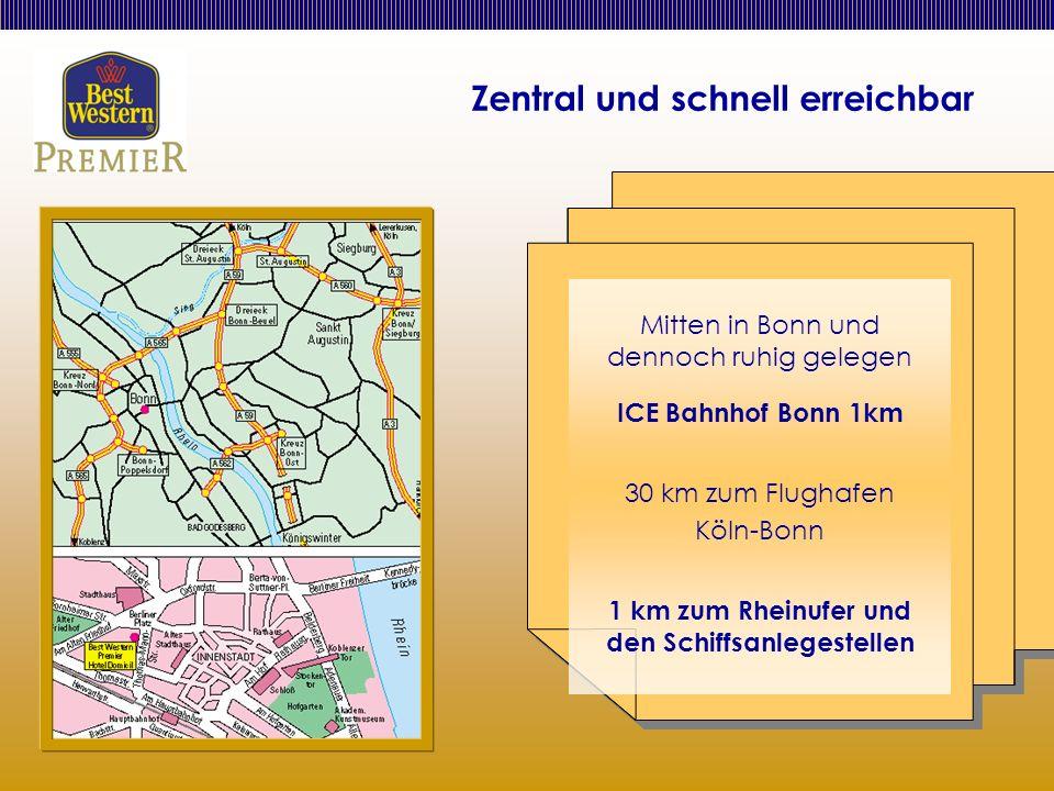 Zentral und schnell erreichbar Mitten in Bonn und dennoch ruhig gelegen ICE Bahnhof Bonn 1km 30 km zum Flughafen Köln-Bonn 1 km zum Rheinufer und den Schiffsanlegestellen