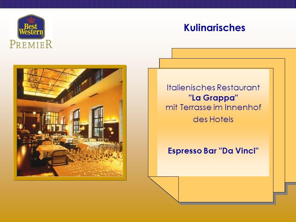 Kulinarisches Italienisches Restaurant La Grappa mit Terrasse im Innenhof des Hotels Espresso Bar Da Vinci