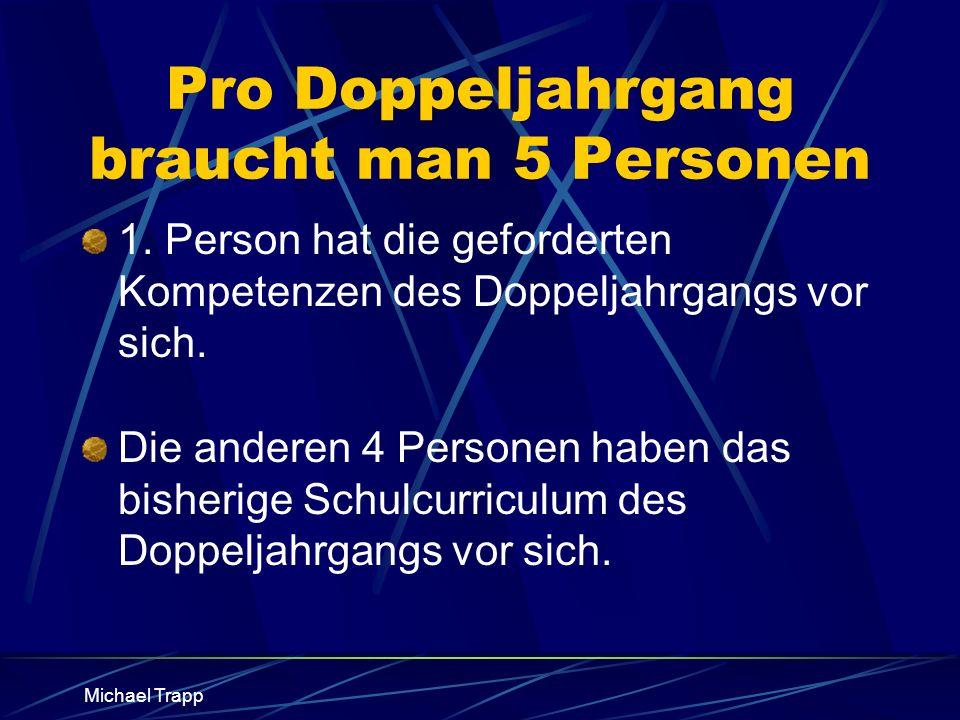 Michael Trapp Pro Doppeljahrgang braucht man 5 Personen 1. Person hat die geforderten Kompetenzen des Doppeljahrgangs vor sich. Die anderen 4 Personen
