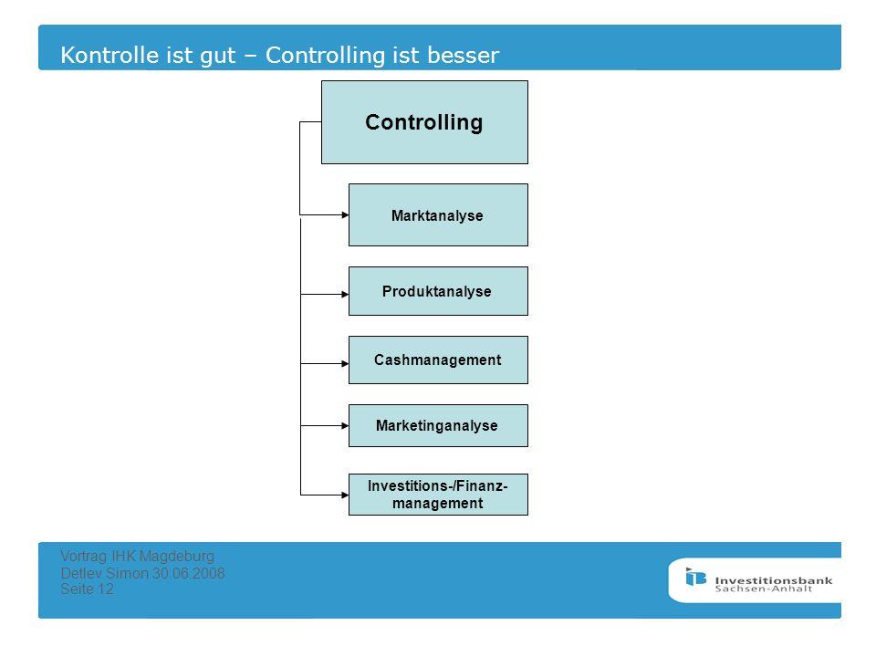 Kontrolle ist gut – Controlling ist besser Vortrag IHK Magdeburg Detlev Simon 30.06.2008 Seite 12 Controlling Marktanalyse Produktanalyse Cashmanageme