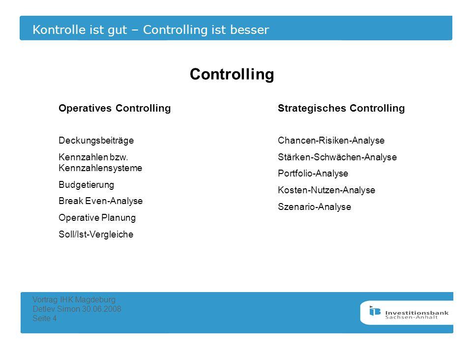 Kontrolle ist gut – Controlling ist besser Vortrag IHK Magdeburg Detlev Simon 30.06.2008 Seite 4 Controlling Operatives ControllingStrategisches Contr