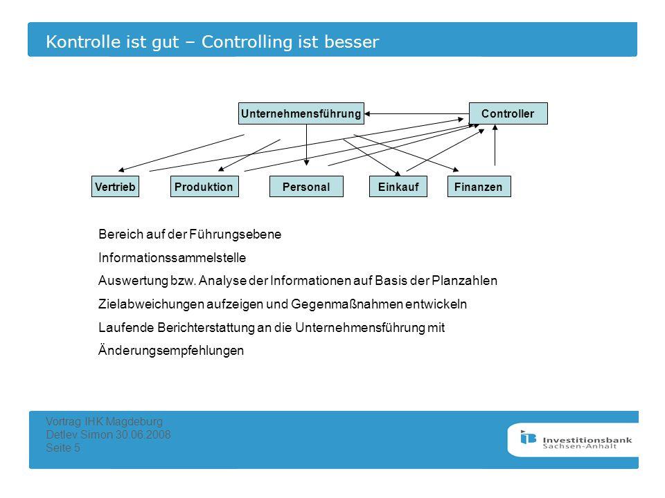 Kontrolle ist gut – Controlling ist besser Vortrag IHK Magdeburg Detlev Simon 30.06.2008 Seite 5 Unternehmensleitung VertriebProduktionPersonalEinkauf