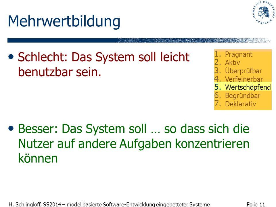 Folie 11 H. Schlingloff, SS2014 – modellbasierte Software-Entwicklung eingebetteter Systeme Mehrwertbildung Besser: Das System soll … so dass sich die