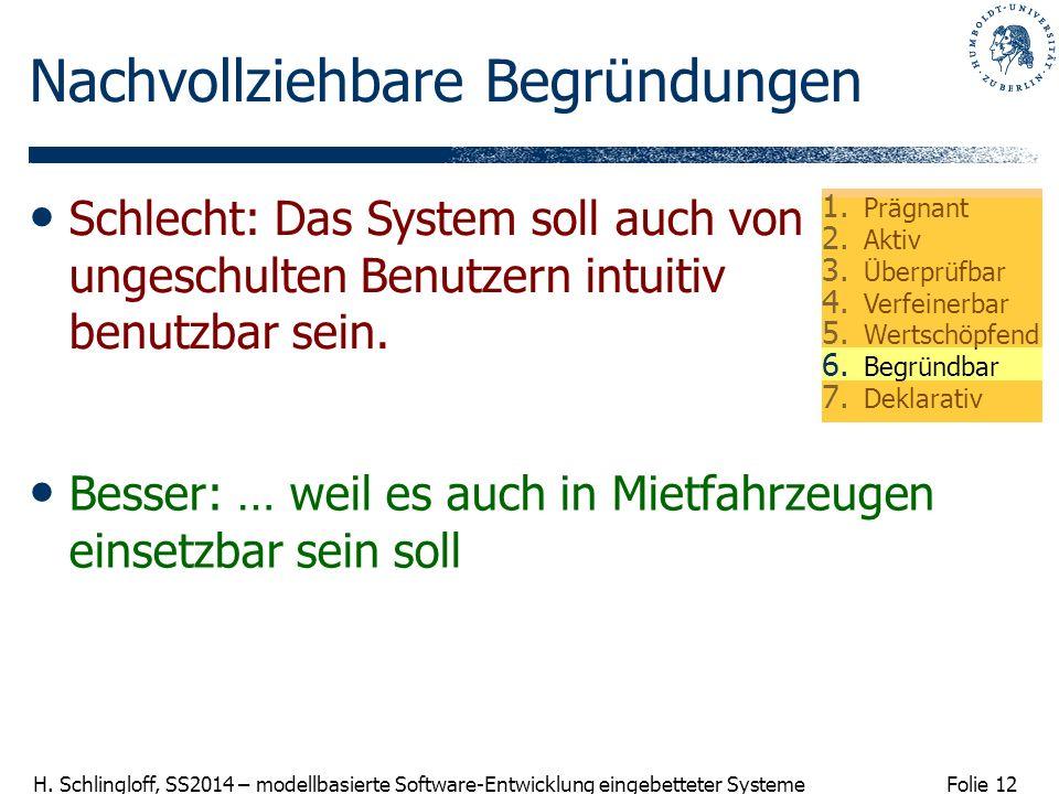 Folie 12 H. Schlingloff, SS2014 – modellbasierte Software-Entwicklung eingebetteter Systeme Nachvollziehbare Begründungen Besser: … weil es auch in Mi