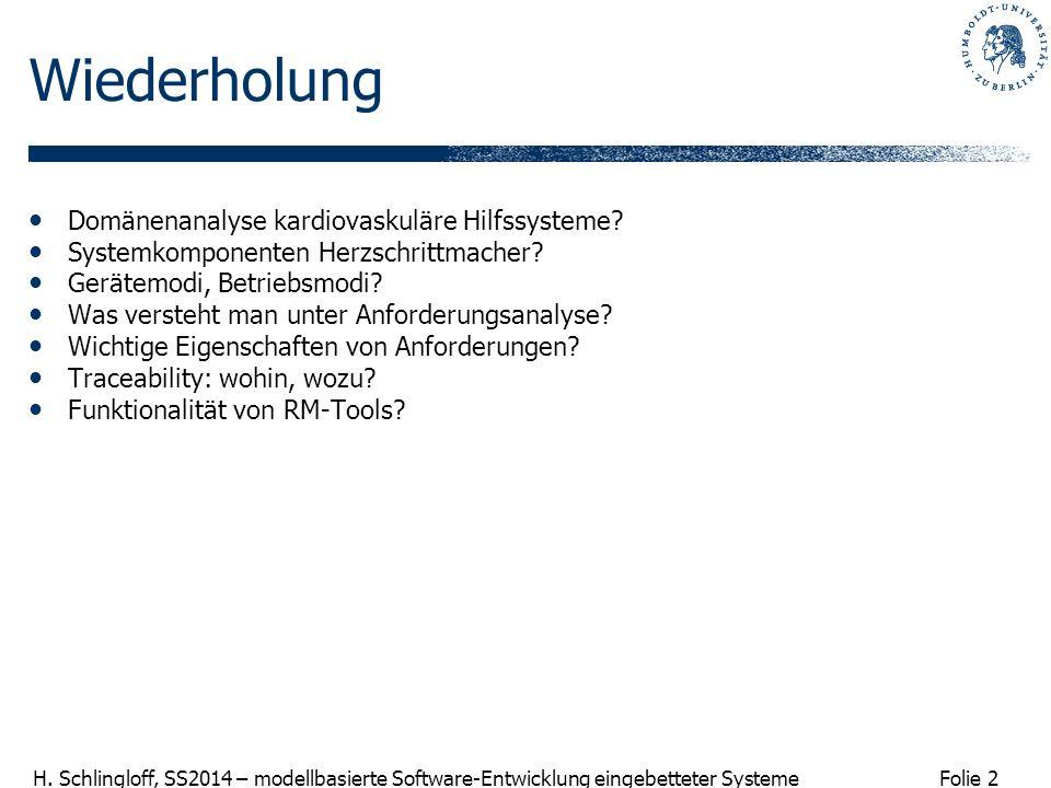 Folie 2 H. Schlingloff, SS2014 – modellbasierte Software-Entwicklung eingebetteter Systeme Wiederholung Domänenanalyse kardiovaskuläre Hilfssysteme? S
