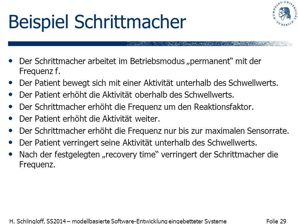 Folie 29 H. Schlingloff, SS2014 – modellbasierte Software-Entwicklung eingebetteter Systeme Beispiel Schrittmacher Der Schrittmacher arbeitet im Betri