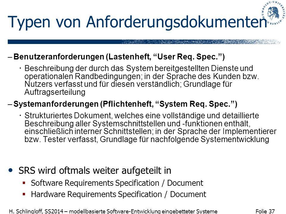 Folie 37 H. Schlingloff, SS2014 – modellbasierte Software-Entwicklung eingebetteter Systeme Typen von Anforderungsdokumenten –Benutzeranforderungen (L