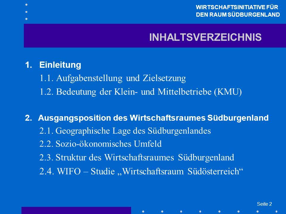 Seite 2 INHALTSVERZEICHNIS 1.Einleitung 1.1. Aufgabenstellung und Zielsetzung 1.2. Bedeutung der Klein- und Mittelbetriebe (KMU) 2.Ausgangsposition de