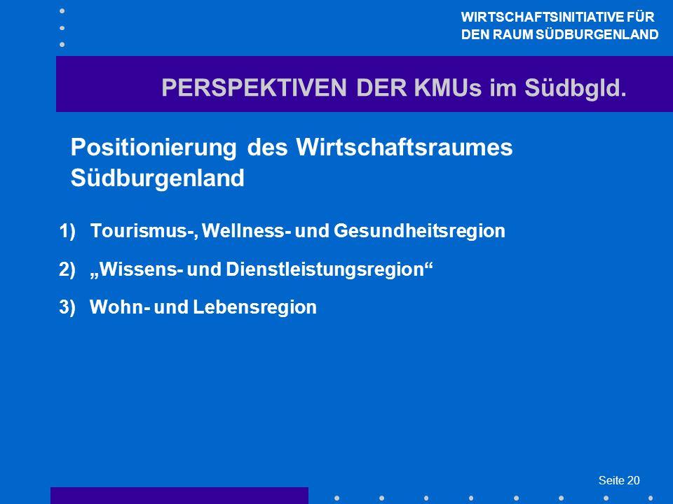 Seite 20 PERSPEKTIVEN DER KMUs im Südbgld. Positionierung des Wirtschaftsraumes Südburgenland 1)Tourismus-, Wellness- und Gesundheitsregion 2)Wissens-