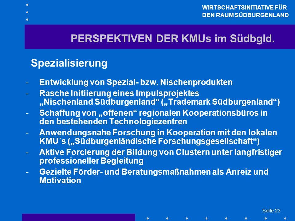 Seite 23 PERSPEKTIVEN DER KMUs im Südbgld. Spezialisierung -Entwicklung von Spezial- bzw. Nischenprodukten -Rasche Initiierung eines Impulsprojektes N