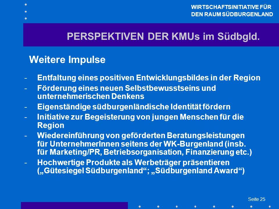 Seite 25 PERSPEKTIVEN DER KMUs im Südbgld.
