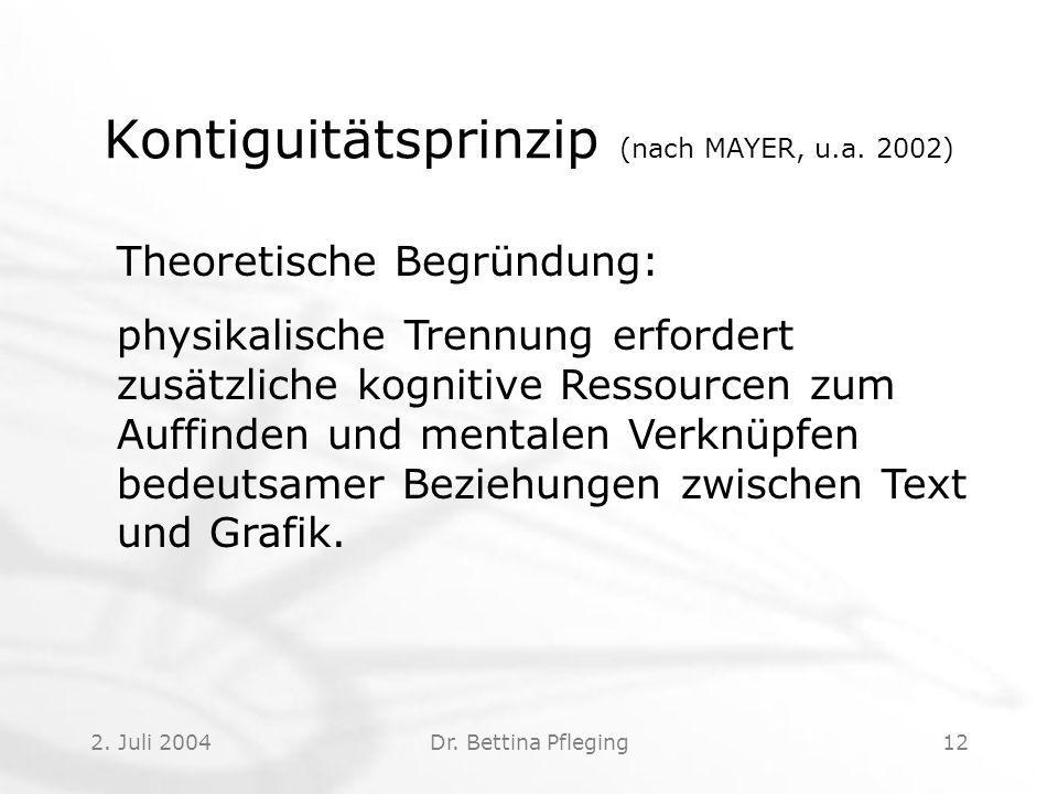 2.Juli 2004Dr. Bettina Pfleging12 Kontiguitätsprinzip (nach MAYER, u.a.