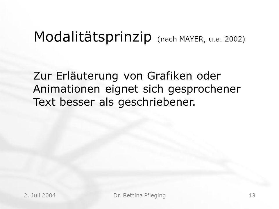 2.Juli 2004Dr. Bettina Pfleging13 Modalitätsprinzip (nach MAYER, u.a.