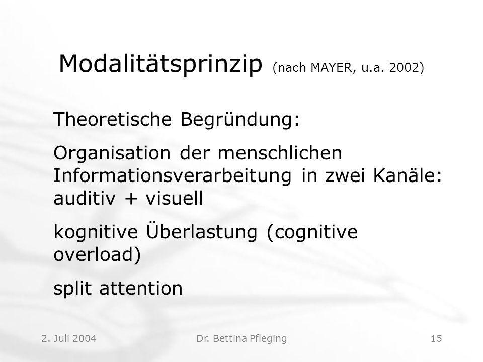 2.Juli 2004Dr. Bettina Pfleging15 Modalitätsprinzip (nach MAYER, u.a.