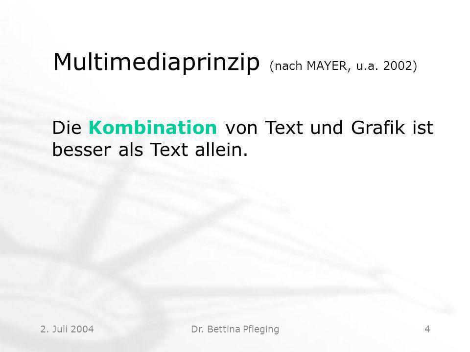 2.Juli 2004Dr. Bettina Pfleging4 Multimediaprinzip (nach MAYER, u.a.