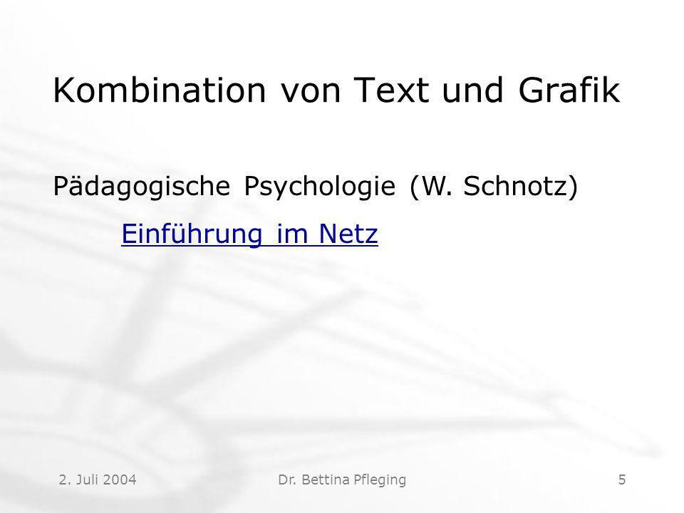 2.Juli 2004Dr. Bettina Pfleging5 Kombination von Text und Grafik Pädagogische Psychologie (W.