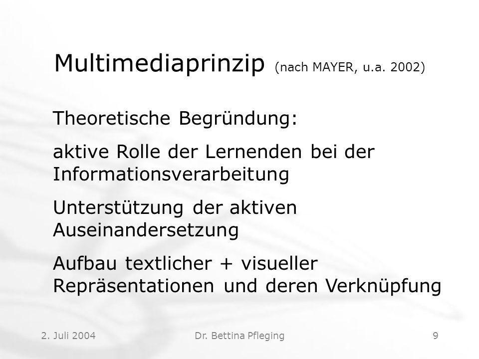 2.Juli 2004Dr. Bettina Pfleging9 Multimediaprinzip (nach MAYER, u.a.
