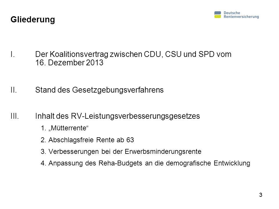 Gliederung I.Der Koalitionsvertrag zwischen CDU, CSU und SPD vom 16. Dezember 2013 II.Stand des Gesetzgebungsverfahrens III.Inhalt des RV-Leistungsver