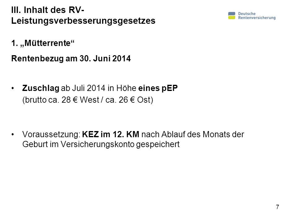 III. Inhalt des RV- Leistungsverbesserungsgesetzes Rentenbezug am 30. Juni 2014 Zuschlag ab Juli 2014 in Höhe eines pEP (brutto ca. 28 West / ca. 26 O