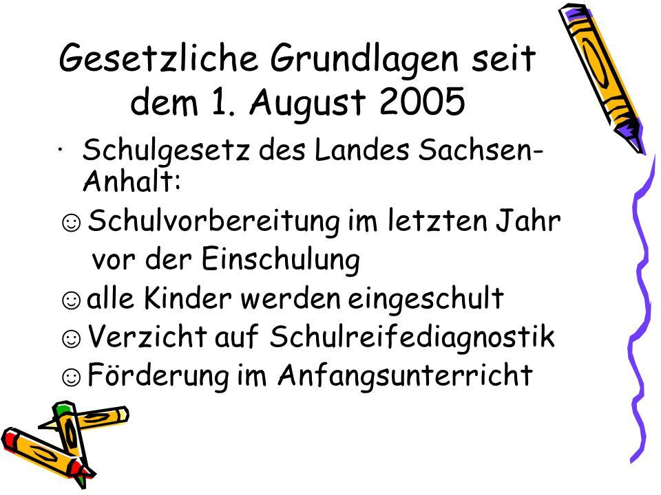 Gesetzliche Grundlagen seit dem 1. August 2005 Schulgesetz des Landes Sachsen- Anhalt: Schulvorbereitung im letzten Jahr vor der Einschulung alle Kind