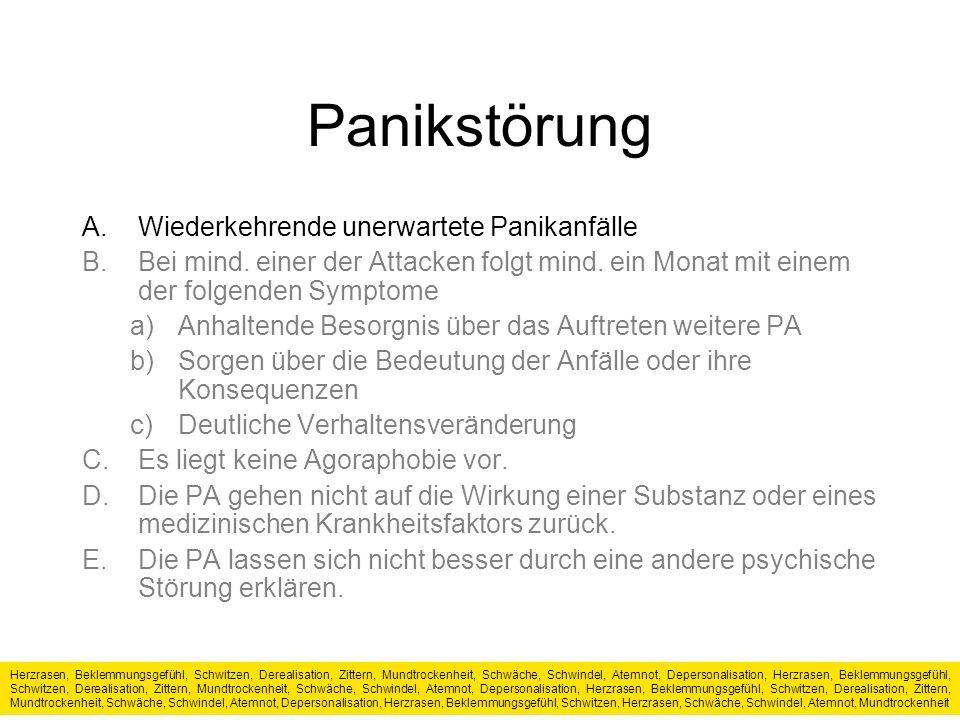 Panikstörung A.Wiederkehrende unerwartete Panikanfälle B.Bei mind.