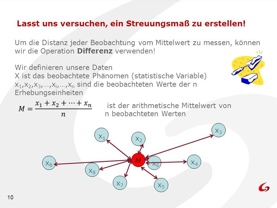 10 Lasst uns versuchen, ein Streuungsmaß zu erstellen! Um die Distanz jeder Beobachtung vom Mittelwert zu messen, können wir die Operation Differenz v